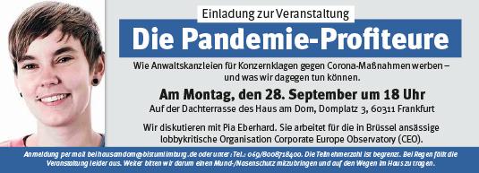 Veranstaltung – die Pandemie-Profiteure